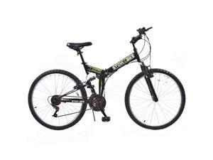 "Stowabike 26"" MTB V2 Folding Dual Suspension 18 Speed Gears Mountain Bike - Black"