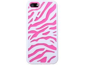 Zebra Design Hard Rubberized Case Cover for Apple iPhone 5 w/ Stylus + Front & Back Screen Protector (Pink)