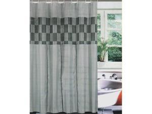 Fabric Bath Shower Curtain Set+Liner+Rings Black/Gray