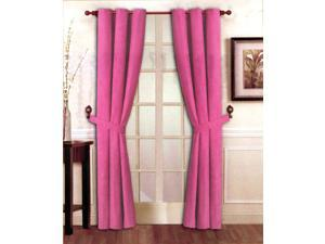"Stylish Solid Pink Micro Suede Window Curtain Set Grommet Top (2 panels - 40"" x 84"")"