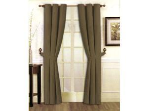 "Stylish Solid Brown Micro Suede Window Curtain Set Grommet Top (2 panels - 40"" x 84"")"