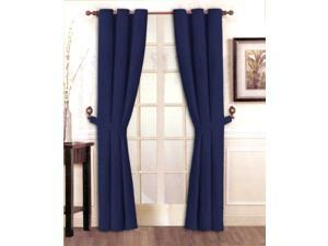 "Stylish Solid Navy Micro Suede Window Curtain Set Grommet Top (2 panels - 40"" x 84"")"