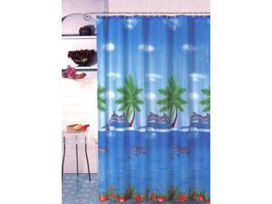 New Tropical Island Dolphins Fabric Shower Curtain Liner Set Blue