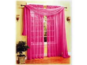 New Sexy Beautiful Sheer Voile Window Scarf Hot Pink