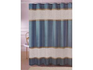 "Linen Organza Embroidery Teal Fabric Shower Curtain 70""x72"""