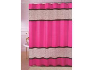 "Linen Organza Embroidery Hot Pink Fabric Shower Curtain 70""x72"""
