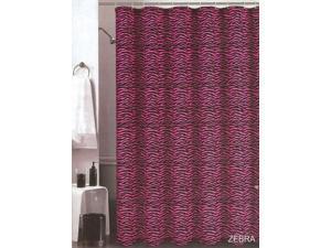 "Sexy Zebra Jacquard Hot Pink, Black Fabric Shower Curtain 70""x72"""