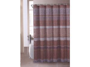 "Safari Leopard Zebra Brown Fabric Shower Curtain 70""x72"""