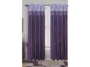 2-Panels Sexy Purple/Lavender Satin Embroidery Window Curtain Drapery Set