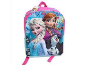 "Disney Frozen Anna, Elsa, Olaf 15"" Girls School Backpack Blue, Pink"