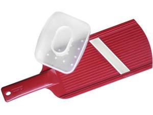 Kyocera 10.5-in. Double-Edged Ceramic Mandoline Slicer with Handguard, Red