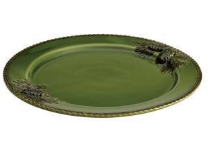 Paula Deen 58666 12-in. Southern Pine Round Platter, Green