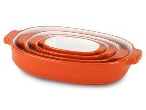 KitchenAid 4-pc. Ceramic Nesting Casserole Dishes, Persimmon