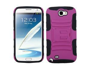 Hot Pink/Black Rugged Case +Stand +Screen For Galaxy Note II T889/I605/N7100