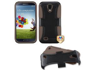 Black/Brown Fusion Hybrid Rugged Protective Cover Case for Samsung Galaxy S 4
