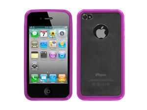 Clear Smoke/Hot Pink Case TPU Gummy Cover Skin for iPhone 4 4S