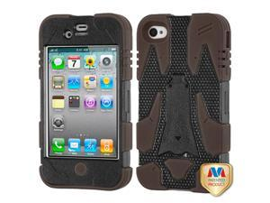 Natural Black/Brown CYBORG Rugged Silicone +Case +Screen For iPhone 4 4S
