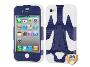 Dark Blue/White CYBORG Rugged Silicone +Case +Screen For iPhone 4 4S