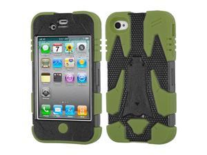 Natural Black/Green CYBORG Rugged Silicone +Case +Screen For iPhone 4 4S