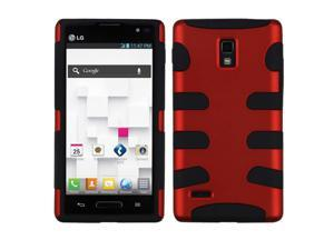 Red/Black Fishbone Hard Shell +Silicone Rugged Cover Case for LG Optimus L9 P769