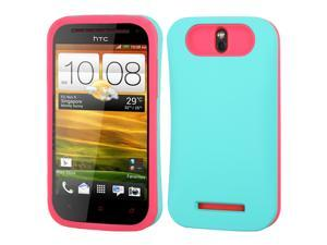 Teal Green/Pink Rubberized Card Wallet Back Protector Cover Case for HTC One SV