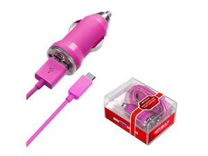 Hot Pink MICRO USB Car Charger Retail Packaged USB Port/Smart IC Chip Cell Phone
