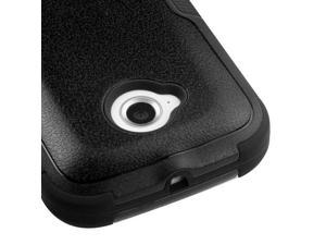 For Moto E 2nd Generation Black Hard Impact TUFF Cover Case +Kick Stand