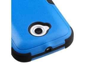 For Moto E 2nd Generation Blue/Black Hard Impact TUFF Cover Case +Kick Stand