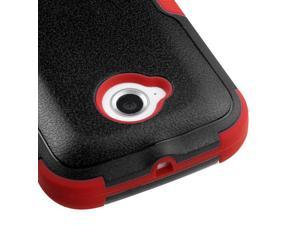 For Moto E 2nd Generation Black/Red Hard Impact TUFF Cover Case +Kick Stand