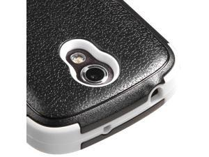 For Galaxy Galaxy Light Black/White TUFF Impact Cover Case +Built-In Stand