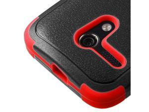 For Motorola Moto G Black/Red Hard Impact TUFF Cover Case +Kick Stand