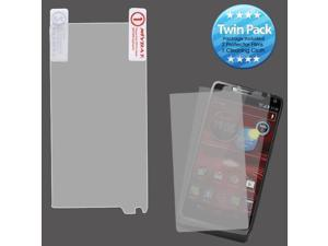 2x LCD Screen Cover Protector Film with Cloth Wipe for Motorola Droid Razr M