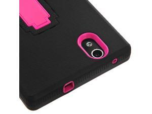 Black/Pink Hard Case +Rugged Silicone Case Cover w/Stand for ZTE ZMAX Z970