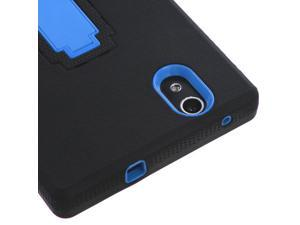 Black/Blue Hard Case +Rugged Silicone Case Cover w/Stand for ZTE ZMAX Z970