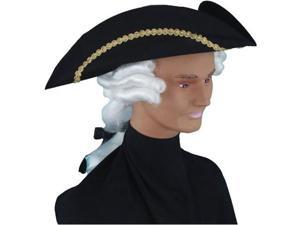 Adult Colonial Tricorn Hat with Attached Wig