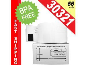 """DYMO-Compatible 30321 Large Address Labels (1.4"""" x 3.5"""") -- BPA Free! (56 Rolls&#59; 260 Labels per Roll)"""