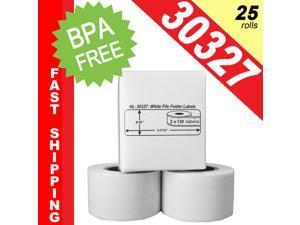 "DYMO-Compatible 30327, 30576 File Folder Labels (9/16"" x 3-7/16"") -- BPA Free! (25 Rolls&#59; 130 Labels per Roll)"