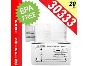 """DYMO-Compatible 30333 Multipurpose Labels (1/2"""" x 1""""&#59; 2 Labels Across) -- BPA Free! (3 Rolls&#59; 1,000 Labels per Roll)"""
