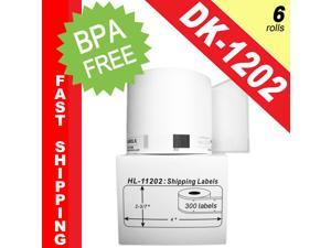 """BROTHER-Compatible DK-1202 Shipping Labels (2-3/7"""" x 4""""&#59; 62mm*100mm) -- BPA Free! (6 Rolls&#59; 300 Labels per Roll)"""