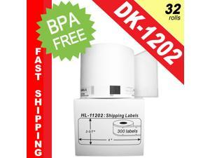 """BROTHER-Compatible DK-1202 Shipping Labels (2-3/7"""" x 4""""&#59; 62mm*100mm) -- BPA Free! (32 Rolls&#59; 300 Labels per Roll)"""