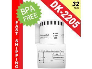 "BROTHER-Compatible DK-2205 Continuous Paper Labels (2-4/9"" x 100'&#59; 62mm*30.48m) -- BPA Free! (32 Rolls&#59; Continuous Paper)"