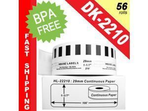 "BROTHER-Compatible DK-2210 Continuous Paper Labels (1-1/7"" x 100'&#59; 29mm*30.48m) -- BPA Free! (56 Rolls&#59; Continuous Paper)"