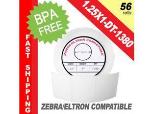 "Zebra/Eltron-Compatible 1.25 x 1 Labels (1-1/4"" x 1"") -- BPA Free! (56 Rolls&#59; 1,380 Labels per Roll)"