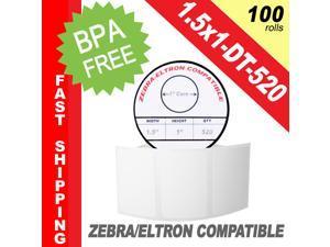 "Zebra/Eltron-Compatible 1.5 x 1 Labels (1-1/2"" x 1"") -- BPA Free! (100 Rolls&#59; 520 Labels per Roll)"