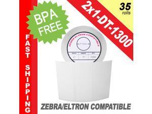 """Zebra/Eltron-Compatible 2 x 1 Labels (2"""" x 1"""") -- BPA Free! (35 Rolls&#59; 1,300 Labels)"""