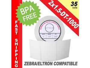 """Zebra/Eltron-Compatible 2 x 1.5 Labels (2"""" x 1-1/2"""") -- BPA Free! (35 Rolls&#59; 1,000 Labels)"""