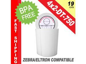 "Zebra/Eltron-Compatible 4 x 2 Labels (4"" x 2"") -- BPA Free! (19 Rolls&#59; 750 Labels per Roll)"