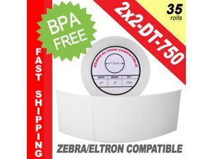 """Zebra/Eltron-Compatible 2 x 2 Labels (2"""" x 2"""") -- BPA Free! (35 Rolls&#59; 750 Labels)"""
