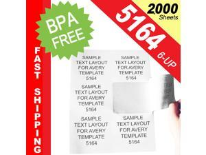 """(2,000 Sheets&#59; 12,000 Labels), Same Size as Avery© 5164, 6-UP, Shipping Labels (4.0"""" x 3-1/3"""") -- BPA Free!"""