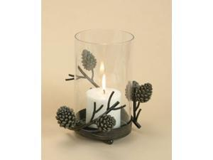 Country Pine Cone Large Hurricane Lamp Candle Holder
